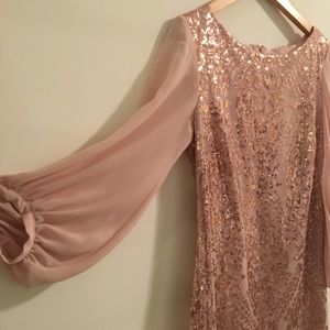 NY&CO EVA MENDES Blush Pink Rose Gold Sheer Dress